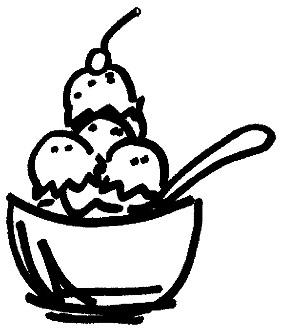 free black and white ice cream sundae clipart - photo #27