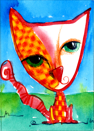 Checkered Cat by Vermont Artist Cathy STevens Pratt, mixed media with love!
