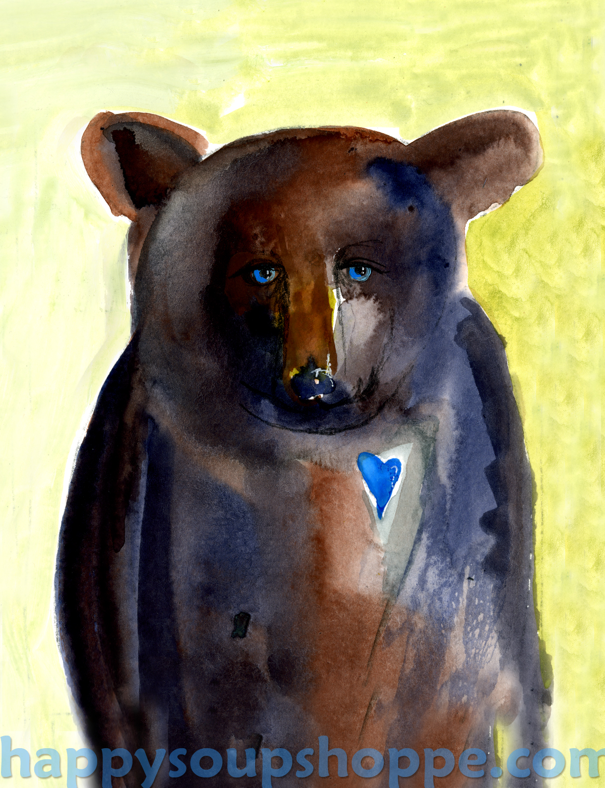 mixed media hand painted peace bear by Vermont artist Cathy Stevens Pratt