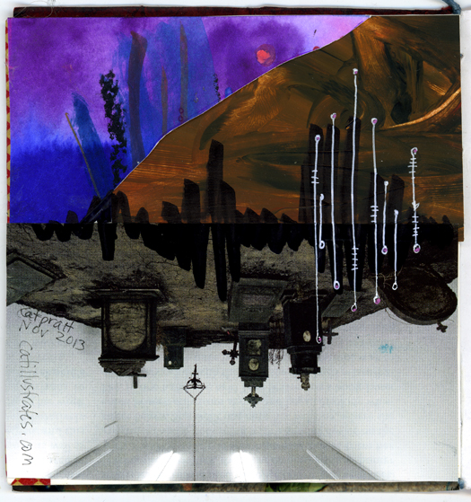 Mixed Media deco signature by Vermont Artist Cathy Stevens Pratt surreal landscape