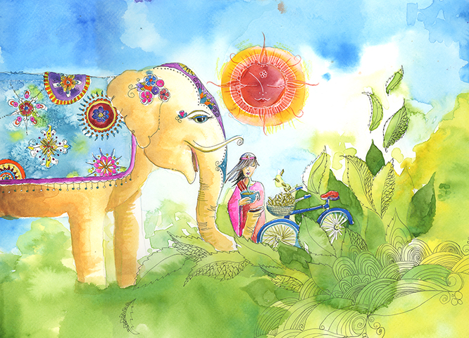 10x13 Elephants Love Tea Watercolor